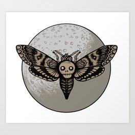 Skull Moth Moon Art Print