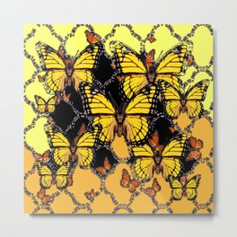 BLACK-GOLDEN YELLOW BUTTERFLIES ART Metal Print