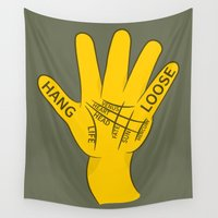 surfboard Wall Tapestries featuring Palmistry Hang Loose Shaka Sign by mailboxdisco