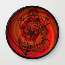Lord Ganesha on Red Spiral Wall Clock