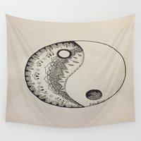 yin yang Wall Tapestries featuring Yin Yang by Julia