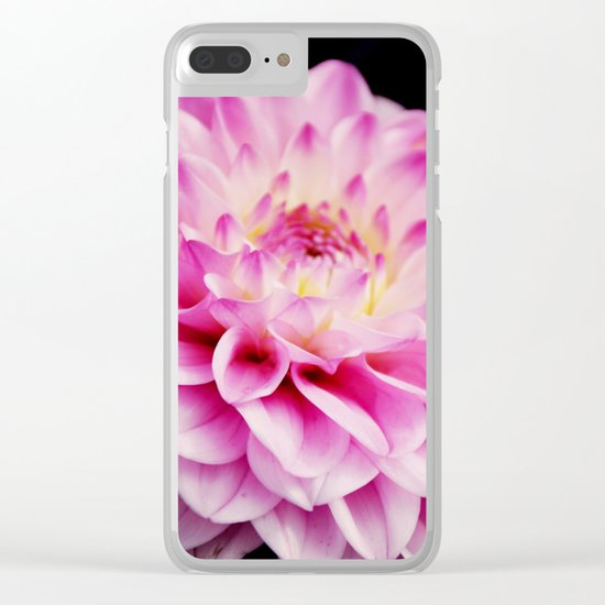 Close up pink dahlia Clear iPhone Case