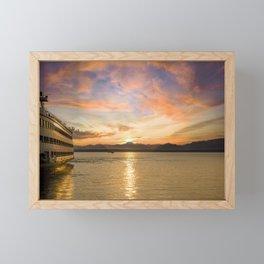 Waterfront Sunset Ferry Framed Mini Art Print