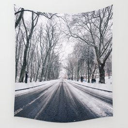 middle of the road with snow Wall Tapestry