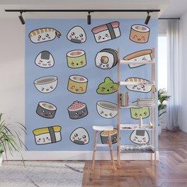 Happy kawaii sushi pattern Wall Mural
