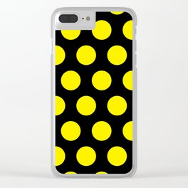 Yellow Circles on Black Background Clear iPhone Case
