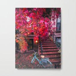 New York City Brooklyn Bicycle and Autumn Foliage Metal Print