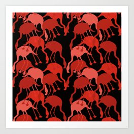 Red Flamingo Animal Camouflage Pattern Art Print