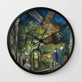 Postcards from Paris - Montmartre by Night: Le Moulin de la Galette Wall Clock