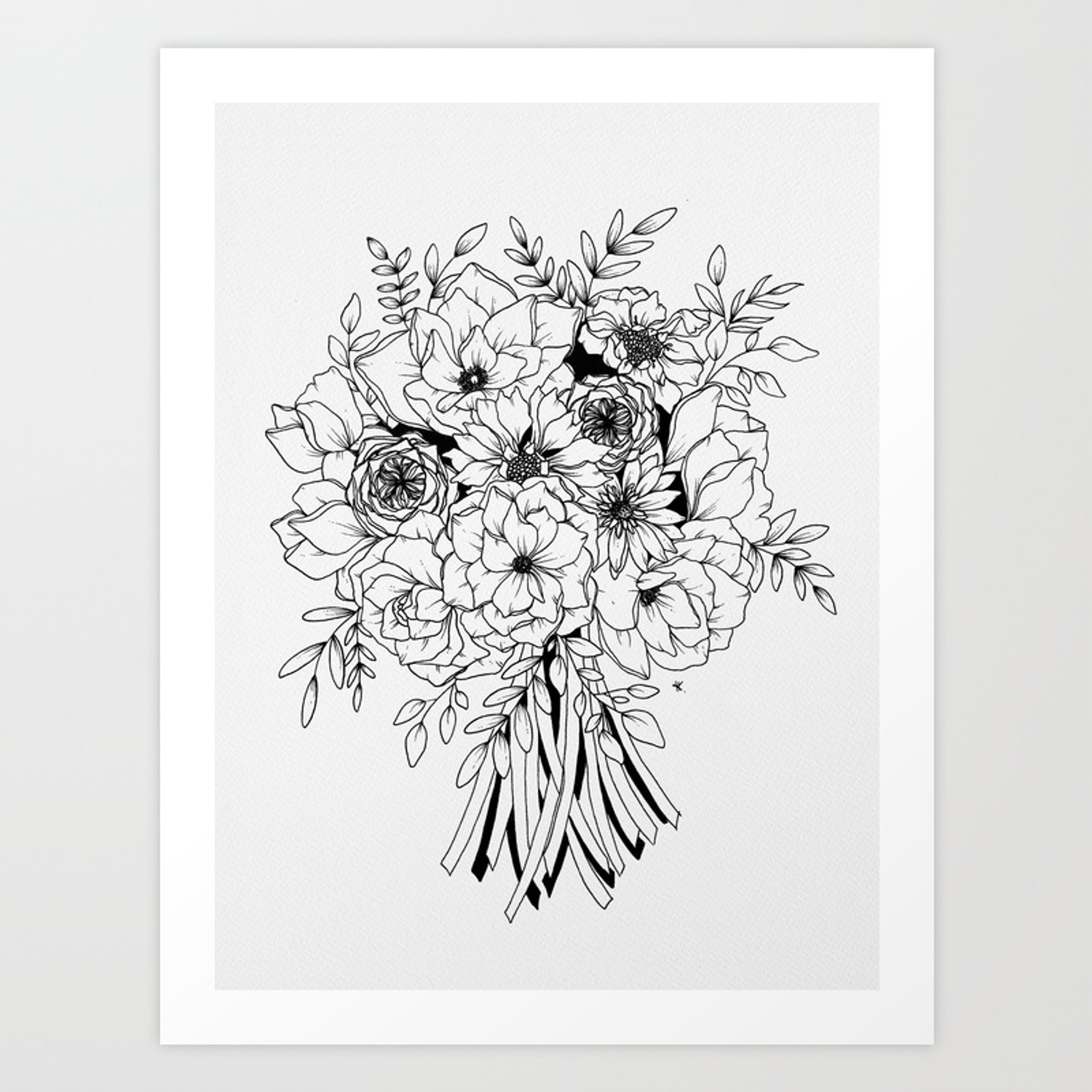 Pen and ink bouquet drawing art print