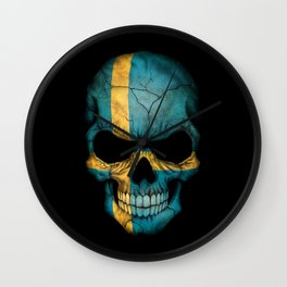 Dark Skull with Flag of Sweden Wall Clock