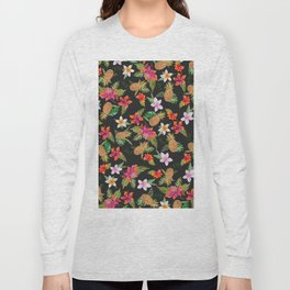 Tropical summer yellow pink watercolor fruit floral Long Sleeve T-shirt