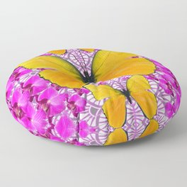 FUCHSIA COLORED  ORCHIDS &  YELLOW  BUTTERFLY FLORAL Floor Pillow