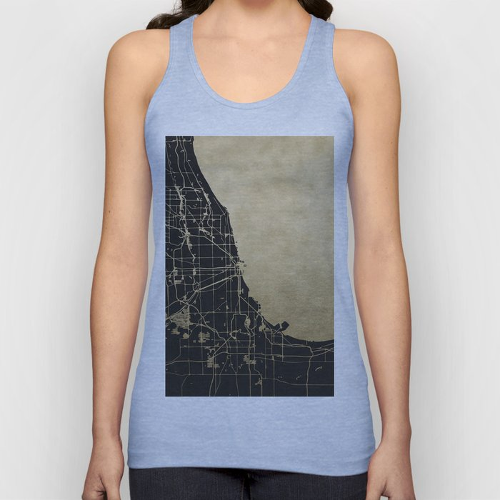Chicago Black and Gold Street Map Unisex Tank Top