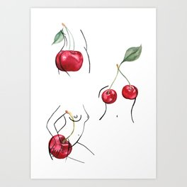 Cherry ladies Art Print