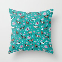 Horse Pattern, Floral Print, Turquoise, Little Girls Room, Horses Throw Pillow