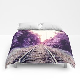 Amethyst Orchid Train Tracks Comforters