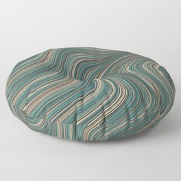 MANITOULIN forest colours of aquamarine green and brown in abstract waves design Floor Pillow