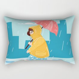Walking Girl In Rain Day Rectangular Pillow