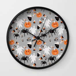 Spooky Halloween Spiders/Pumpkin/Ghosts/CandyCorn Wall Clock