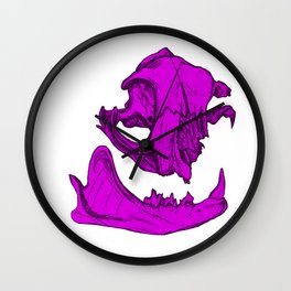 Cat Skull 3 (magenta/fuchsia) Wall Clock