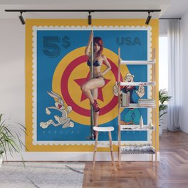 Blue Stamp Wall Mural