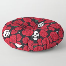 Skulls and Roses Pattern Floor Pillow