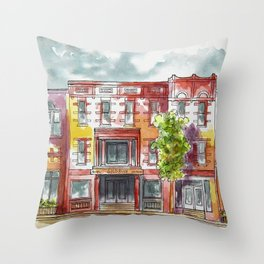Red southwestern cityscape III Throw Pillow