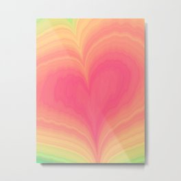 Abstract Tropical Pastel Rainbow Heart Pattern | Valentine's Day Metal Print