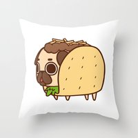 taco Throw Pillows featuring Puglie Taco by Puglie Pug
