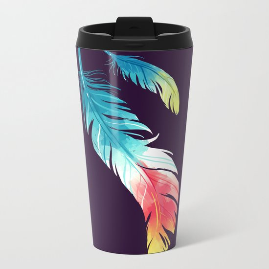 Feather Metal Travel Mug