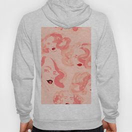 A pattern of glamorous girls with wavy hair - in colors of apricot and tea rose Hoody