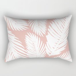 White Tropical Palm Tree Fern Leaf on Rose Gold Pattern Rectangular Pillow