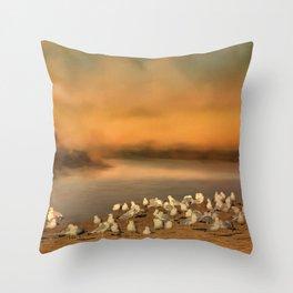 Seagulls On The Beach At Sunset Throw Pillow