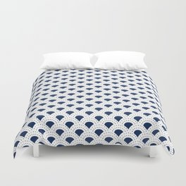 Blue and white Japanese style geometric pattern Duvet Cover