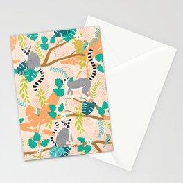 Lemurs in a Peach Jungle Stationery Cards