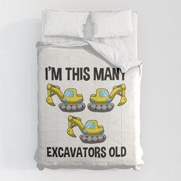 I'm This Many Excavators Old 3 Birthday Gift Comforters