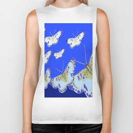 PATTERN OF BLUE & WHITE BUTTERFLIES MODERN ART Biker Tank