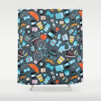 macaroon Shower Curtains featuring Hipster pattern by Anna Alekseeva kostolom3000