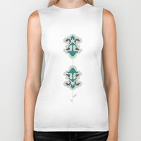 gray pattern Biker Tanks featuring gray flowers by SNUFF