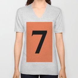 7 (BLACK & CORAL NUMBERS) Unisex V-Neck