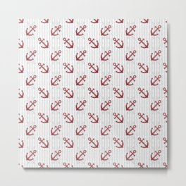 Red Anchor Pattern Metal Print