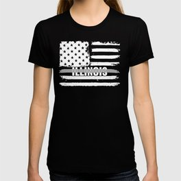 Illinois Correctional Officers Gift for Correctional Officers and Prison Wardens Thin Silver Line T-shirt