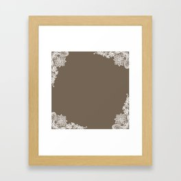White Lace Mocha Decoration Vintage Lace Brown Retro Lace Henna Print Framed Art Print