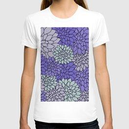 Ultra Violet Periwinkle Gray Dahlias T-shirt
