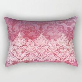 ABERDEEN HEIRLOOM, LACE & DAMASK: REBECCA'S RED Rectangular Pillow