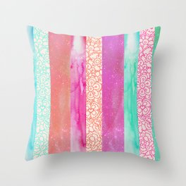 Tropical Stripes - Pink, Aqua And Peach Colorway Throw Pillow