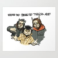 beastie boys Art Prints featuring Where The Beastie Things Are by Derek Salemme