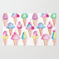 ice cream Area & Throw Rugs featuring Ice Cream by Sara Berrenson