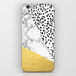 Carina - gold black and white with marble abstract painting minimalist decor dorm college nursery iPhone Skin